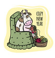 cow knits and wishes a cozy new year vector image vector image