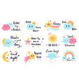 cute baby labels kids sun cloud and rainbow vector image vector image