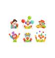cute clowns collection cheerful circus cartoon vector image vector image