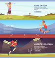 design of horizontal banners with sport peoples vector image