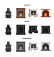 fire warmth and comfort fireplace set collection vector image vector image