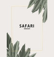 floral motifs palm tree jungle safari design with vector image