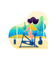 girl plays sports at home home training flat 2d vector image