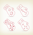 gloves sketches decorative for christmas design vector image