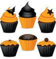 halloween cupcakes vector image vector image