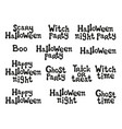 halloween phrases handdrawn lettering design vector image