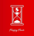 happy hour background with sandglass vector image vector image