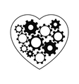 Heart with gears inside vector image