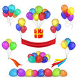 helium balloons and birthday decoration icons vector image