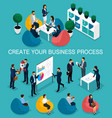 isometric businessman development of startup vector image vector image