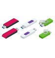 isometric set of usb flash drives usb memory vector image vector image