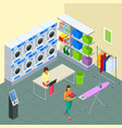 laundry service and dry cleaning concept row of vector image vector image