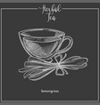 lemongrass tea cup chalk sketch icon for vector image vector image