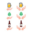 love beer bottle and glass hops with hands icons vector image