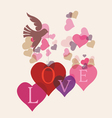 Love message card with birds vector image