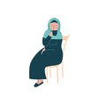 muslim woman in hijab sitting on chair and vector image vector image