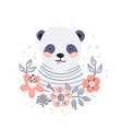 panda cute animal baface with flowers and vector image vector image