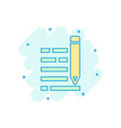 pencil notepad icon in comic style document write vector image vector image