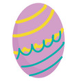 purple easter egg with yellow and turquoise vector image