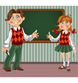 Schoolgirl and Schoolboy with a blackboard vector image vector image