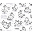 seamless pattern with cartoon pigeons in outline vector image vector image