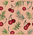 seamless pattern with cherry berries and leafs vector image