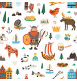 seamless swedish pattern with symbols sweden vector image