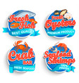 set fresh seafood logo vector image