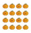 set fun cute pumpkin icon cartoons vector image