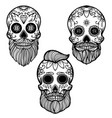set hand drawn mexican bearded sugar skull vector image vector image