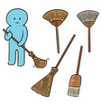 set of broom vector image