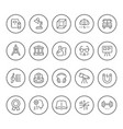 set round line icons education vector image