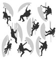 set silhouettes of alpinists vector image vector image