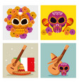 set skull decoration with guitar and hat vector image