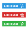 shopping cart item add buttons set buy now and vector image vector image