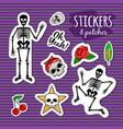 skeleton and skull colorful stickers vector image vector image