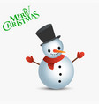 snowman with text merry christmas christmas card vector image