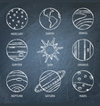 solar system planets icon set on chalkboard vector image