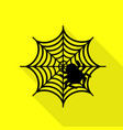 spider on web black icon with flat vector image