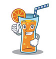 thumbs up cocktail character cartoon style vector image vector image
