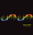 wave annual report on black 3d rainbow pulse vector image vector image