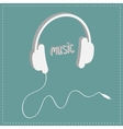 White headphones with cord and word Music vector image vector image