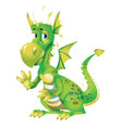 cute green dragon cartoon isolated on white vector image