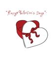 Valentine Gift box and red ribbon vector image
