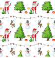 a seamless christmas template with santa claus and vector image vector image