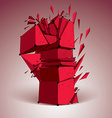 Abstract low poly wrecked red number one with vector image vector image