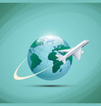 airplane flies around earth planet vector image