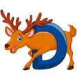 Alphabet D with deer cartoon vector image