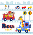 animals rescue team in city with vehicles vector image vector image