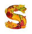 autumn stylized alphabet letter s vector image vector image